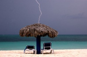 Beach Hut Lightning Strike