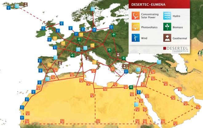 Desertec solar and renewables Map